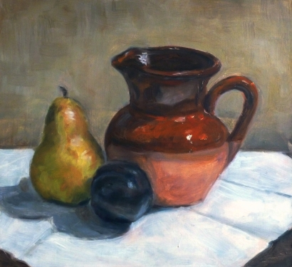 08-10x11 still life bottle apple glass ball portrait painter marilyn boddewyn oil painting