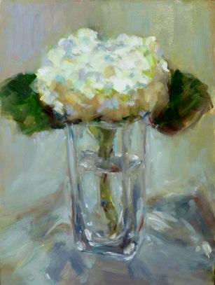 White Hydrangeas in Vase