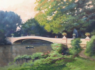 Davis_)Bow Bridge Rowboat 12x16 Oil on Panel
